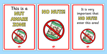 Nut Free Zone Poster - nut free, no nuts, allergy, nut, nut allergy, allergic to nuts, nut free zone, poster, sign, banner