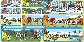 Months of The Year With Seasons Theme Display Posters German - german, months, year, seasons, display, posters