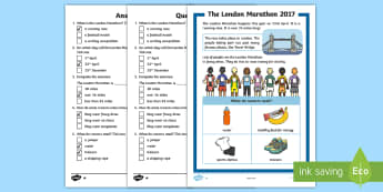 KS1 The London Marathon Differentiated Reading Comprehension Activity - KS1 Comprehensions, reading, questions, fact file, information, London Marathon, running, exercise,