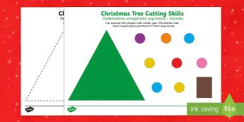 Christmas Tree Scissor Skills Activity English/Polish - Christmas, Nativity, Jesus, xmas, Xmas, Father Christmas, Santa, St Nic, Saint Nicholas, traditions,