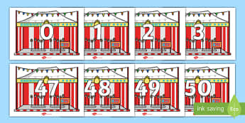 Numbers 0-50 on Fairground Coconut Stands - 0-50, foundation stage numeracy, Number recognition, Number flashcards, counting, number frieze, Display numbers, number posters