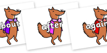 KS1 Keywords on Small Fox 1 to Support Teaching on Fantastic Mr Fox - KS1, CLL, Communication language and literacy, Display, Key words, high frequency words, foundation stage literacy, DfES Letters and Sounds, Letters and Sounds, spelling