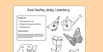 Arkusz Rzuć kostką, dodaj i pokoloruj Ogród po polsku - gra - polish, garden, colour, roll, worksheet, back garden, outside
