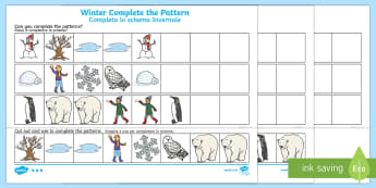 Winter Themed  Complete the Pattern Activity Sheet English/Italian - Winter, Christmas, seasons, pattern, repeating pattern
