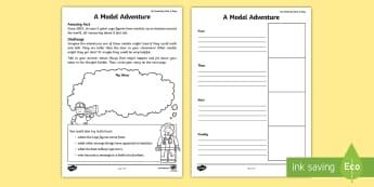 A Model Adventure Activity Sheet - july amazing fact, KS1, writing, amazing fact, story, creative writing, worksheet