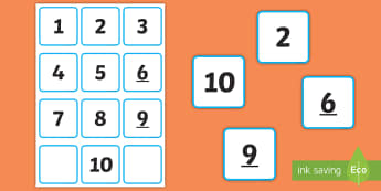 Small Number Cards 1 to 10 Number Cards - Mathematics, Maths, Number Recognition, Counting, Groups, Sets, Sequencing, numbers to 10.