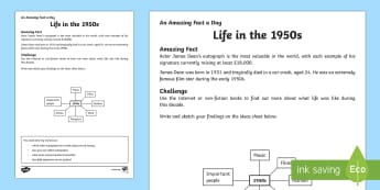 Life in the 1950s Activity Sheet - Amazing Fact Of The Day, activity sheets, powerpoint, starter, morning activity, December, research,