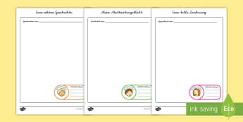 Unterschiedliche Hausaufgaben Schreibvorlagen für Rollenspiele - EAL, German, School Role Play Student Work - School Role Play Pack, school role play, register, teac