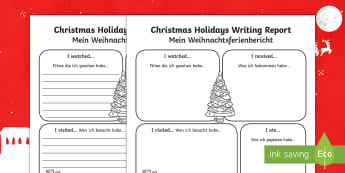Christmas Holiday Report Writing Frames English/German - EAL, German, holiday, literacy, recall