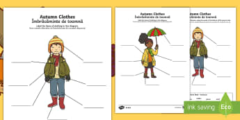 Autumn Clothes Labelling Differentiated Activity Sheets English/Romanian - Autumn, seasons, september, october, topics, ks1, harvest, clothes, clothing, wear, wearing, wore, w