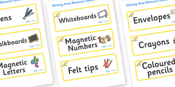 Canary Themed Editable Writing Area Resource Labels - Themed writing resource labels, literacy area labels, writing area resources, Label template, Resource Label, Name Labels, Editable Labels, Drawer Labels, KS1 Labels, Foundation Labels, Foundation