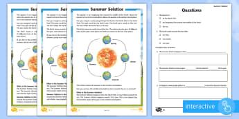 Summer Solstice CfE First Level Differentiated Go Respond Activity Sheets-Scottish - Summer Solstice, sun, midsummer, northern hemisphere, daylight, Earth, orbit, seasons, Stonehenge,Sc