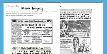 Titanic Tragedy Activity Sheet - titanic, newspaper, titanic tragedy, worksheet