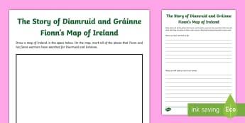 The Story of Diarmuid and Gráinne - Fionn's Map of Ireland Activity Sheet - Irish Tales, Celtic, The Fianna, Fionn, Irish Stories,Irish,worksheet
