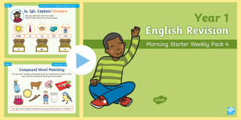 Year 1 English Revision Morning Starter Weekly PowerPoint Pack 4 - Y1, starter, morning task, Spelling, Grammar, Reading, Writing, SPaG