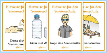 Hinweise für den Sonnenschutz - german, Sun safety, Sun, Summer, sunburn, Display Words, display, summer, fun in the Sun, Sun danger, sun hat , sunglasses