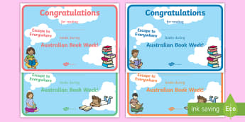 Australian Book Week - Escape to Everywhere Certificates - Australia, EYLF, Foundation, Book Week, Escape to Everywhere, Display, Kindergarten, Pre-Primary, Pr