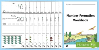 Number Formation Workbook Dinosaurs - Number formation, tracing numbers, tracing sheet, 0-20 tracing, 0-20, dinosaurs, number writing practice, foundation stage numeracy, writing, learning to write, overwriting