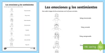 Emotions And Feelings Matching Activity Sheet