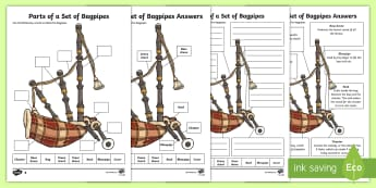 Parts of a Set of Bagpipes Differentiated Activity Sheets - Pipe band, piper, Scottish Music, world pipe band championships, piping,Scottish