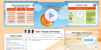 PlanIt Y4 Explorers: James and the Giant Peach Lesson Pack Play Scripts 1 - Explorers: James and the Giant Peach, Roald Dahl, similes, conscience alley, dilemma, drama, fronted