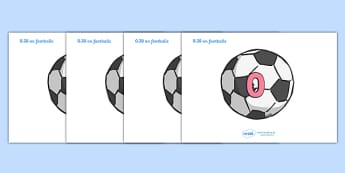 Numbers 0-20 on Footballs - Foundation Numeracy, Number recognition, Number flashcards, counting, soccer, football, footballs, sport, world cup