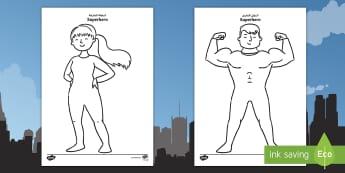 Superhero Template Activity Sheet Arabic/English - cut out, superheroes, display, comic, puppet, worksheet, EAL, Arabic.,Arabic-translation