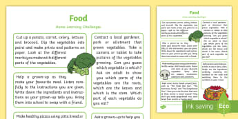 Food Home Learning Challenges Reception FS2 - EYFS, Early Years, home school links, homework, home learning, parents, food, baking, cooking, healt