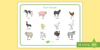 Farm Animal Word Mat - Early Childhood Animals, Animals, Pre-K Animals, K4 Animals, 4K Animals, Preschool Animals, Farm ani