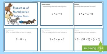 Properties of Multiplication Challenge Cards - properties of multiplication, multiplication properties, commutative, associative, distributive, ide