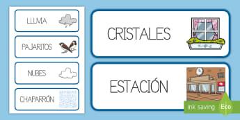 Tarjetas de vocabulario: Que llueva, que llueva  - canciones, que llueva, tradicionales,Spanish