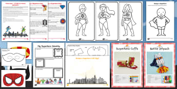 Superhero Theme Day Activity Pack - days in, family, holidays, heroes, heroines