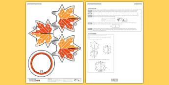 3D Autumn Leaves Decoration Printable - seasons, ks1, ks2, orange, brown, trees, fall, display, paper craft, origami, modelling, model