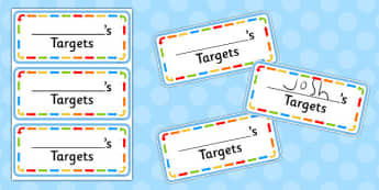 My Targets Cards - my targets, cards, targets, goals, names