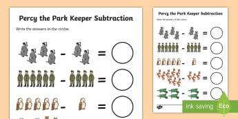Subtraction to Support Teaching on Percy the Park Keeper Activity Sheet -  percy the park keeper, subtraction sheet, subtraction worksheet, percy the park keeper worksheet, n