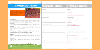 Olympic Games Differentiated Comprehension Pack - nz, new zealand, Olympics, Modern, Ancient Greek, Olympic Rings, Olympic Torch