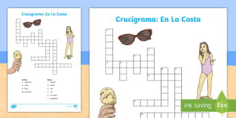 Seaside Topic Crossword - Spanish - coast, beach, holidays, summer, activity, sheet, worksheet, vocabulary, spelling,