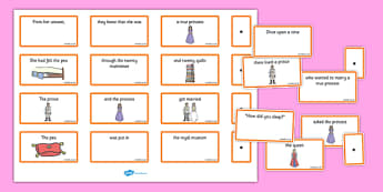 The Princess and the Pea Sentence Building Cards - princess, pea, sentence, building, cards