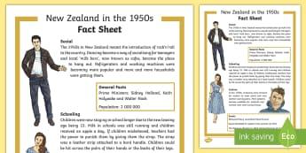 New Zealand in the 1950s Fact Sheet - New Zealand, 50s, fashion, decades, Aotearoa, fact file