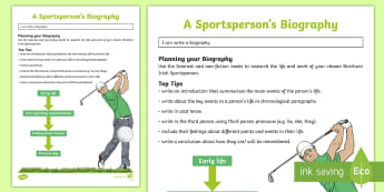 Sporting Heroes of Northern Ireland Biography Writing Template - NI Sporting Heroes of Northern Ireland