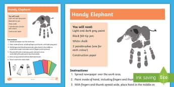 Handy Elephant Hand Painting Activity - elephant, sensory, hand, print, art, craft, sensory art,