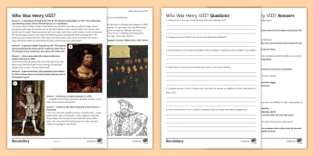 What Was Henry VIII Like? Differentiated Activity Sheet - Tudor , History, KS3, comprehension, source enquiry, worksheet