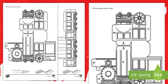 3D-Weihnachtszug aus Papier Bastelvorlage  - Weihnachte, Feiertage, Dezember, Advent, basteln, malen,,German