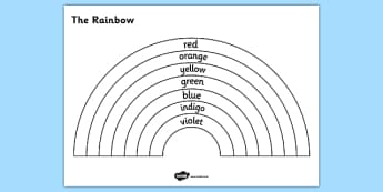 The Rainbow Colours Colouring Sheet - rainbow, the rainbow, rainbow colouring sheet, colours of the rainbow colouring sheet, colours colouring sheet, color