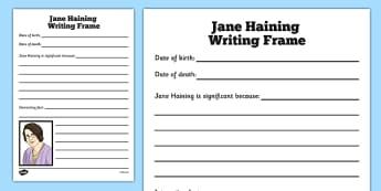 Scottish Significant Individuals Jane Haining Writing Frame - Scottish significant individual, Christian, missionary, Holocaust, Jewish, Auschwitz