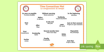 Time Conjunctions Mat English/Italian - Time Connectives Mat - time connectives, mat, time, connectives, conectives, timeconnectives, Timw