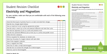 Electricity and Magnetism Student Revision Checklist - Student Progress Sheet (KS3), electricity, magnetism, potential difference, current, electromagnets
