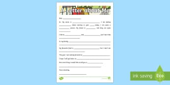 KS1 A Letter about Me Activity Sheet - first week back, new school year, letter writing, all about me, worksheet