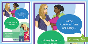Some Conversations Are Scary A4 Display Poster - Mental Health, Mental Health Awareness, Depression, Emotions, mental Health Awareness Day,