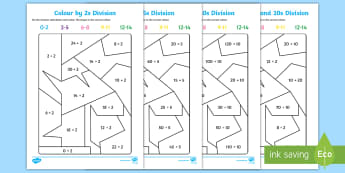 Colour by 2s 5s and 10s Division Activity Sheet - Colour by 2s, 5s and 10s Mulitiplication - divide, division, sharing, divide by 2